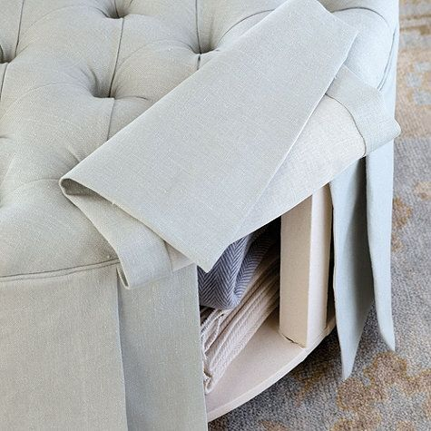 """round """"storage"""" ottoman great for small spaces that need every inch of storage"""