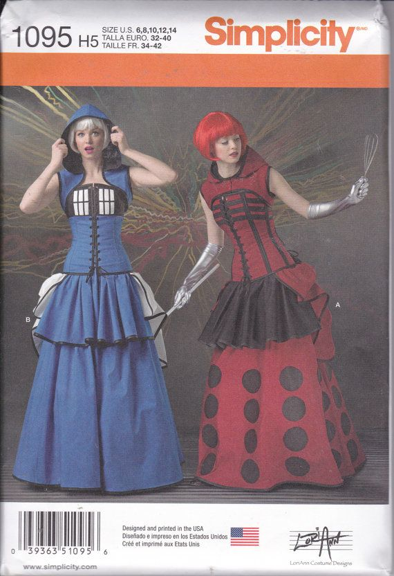 Simplicity 1095 Misses Doctor Who Tardis Dalek Cosplay Little Bo Peep Costume Sewing Pattern Sizes 6-14 New UNCUT