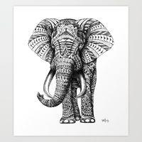 Art Prints featuring Ornate Elephant by BIOWORKZ