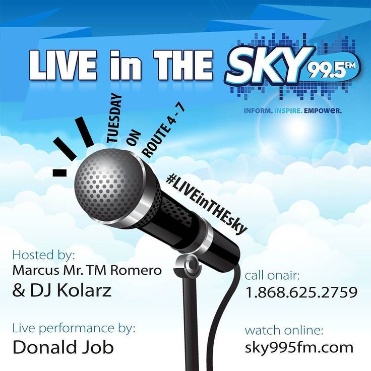 Tomorrow on #route4to7 @donaldjob  is #liveinthesky @sky995fm @kolarz1 watch #online sky995fm.com