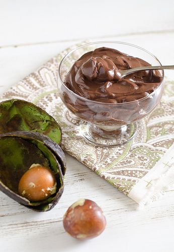 Avocado Chocolate Pudding:     2 ripe medium avocados, peeled and chopped     1/3 cup cocoa powder     1/4 cup honey or raw agave nectar (or other sweetener of choice)     1/2 cup milk (regular or almond milk, coconut, etc.)     1 1/2 teaspoon vanilla extract
