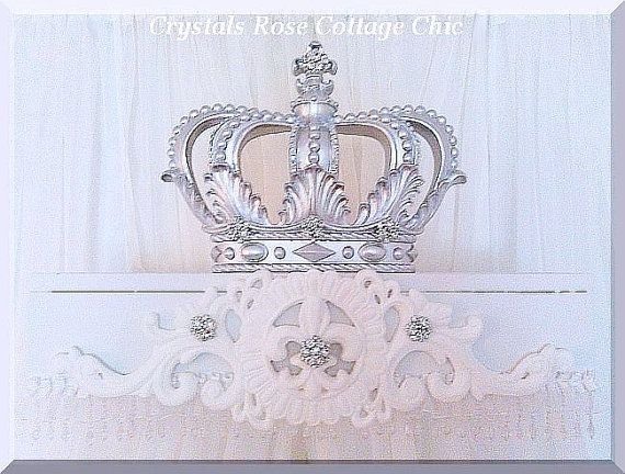 Silver Lux Bed Crown Canopy Teester Princess Room / Nursery Decor / Dessert / Gift Table Party Decor/ Window/Frame/Mirror/Photo Prop decor