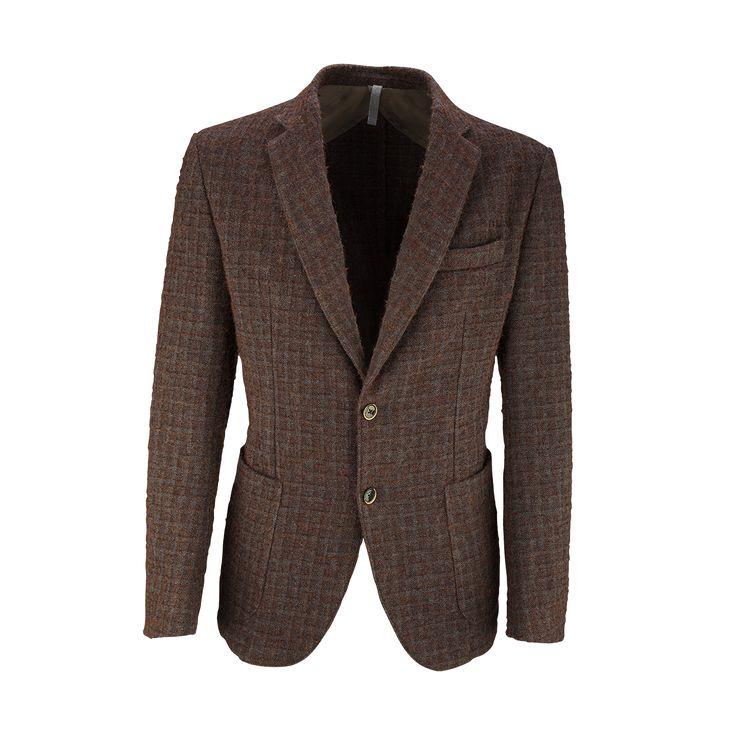 Omar8 #Giacca a quadri in misto lana con tre bottoni spezzata a due #menswear