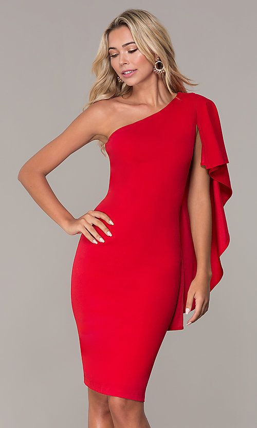 3d75deaa72dd Red One-Shoulder Cocktail Dress by Simply One Shoulder