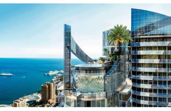 Penthouse di Tour de Odeon, Monaco.Monaco layaknya Dubai dan Abudhabi yang dikenal ekstrim dengan kemewahannya. Penthouse di Tour de Odeon yang dibanderol USD400 juta ini telah disebut sebagai apartemen paling mahal di dunia.  Penthouse ada dalam bangunan tertinggi kedua di langit Mediterania dan memiliki pemandangan indah, akses ke atap kolam renang tak terbatas dengan air terjun yang jatuh ke dalamnya.