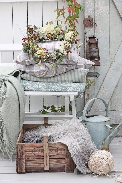 Pretty Fall Porch Decor Ideas - via VIBEKE DESIGN: One way I've dreamed of ....