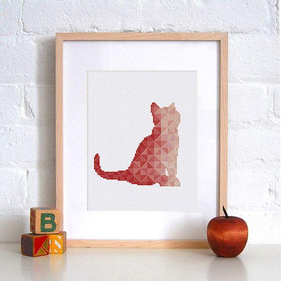 Kwekerij geometrische kat cross stitch patroon | Koraal perzik baby dier geteld grafiek | Minimalistisch silhouet kitten ontwerp | Instant download pdf