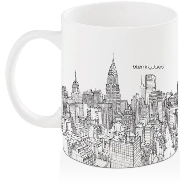 Bloomingdale's Nyc Cityscape Mug - 100% Exclusive ($13) ❤ liked on Polyvore featuring home, kitchen & dining, drinkware, grey and grey mugs