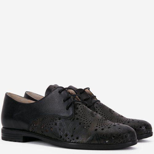 Pantofi Oxford din piele naturala negri Tobby