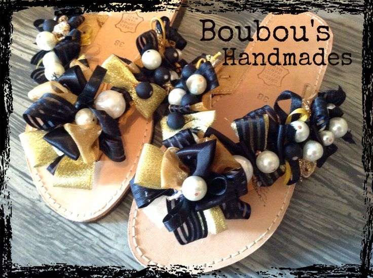 Handmade DIY leather sandals! Ribbons, pearls!