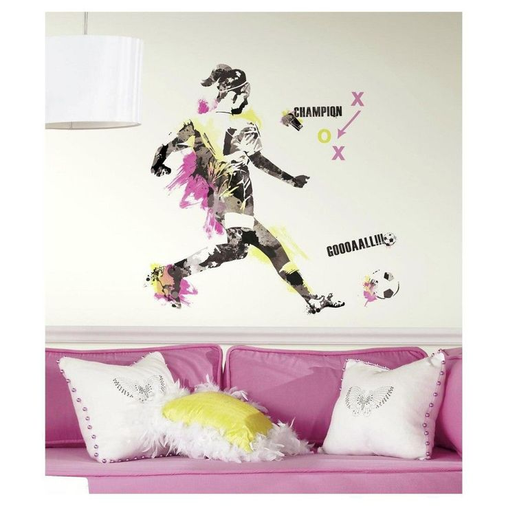RoomMates Women's Soccer Champion Peel and Stick Giant Wall Decals,