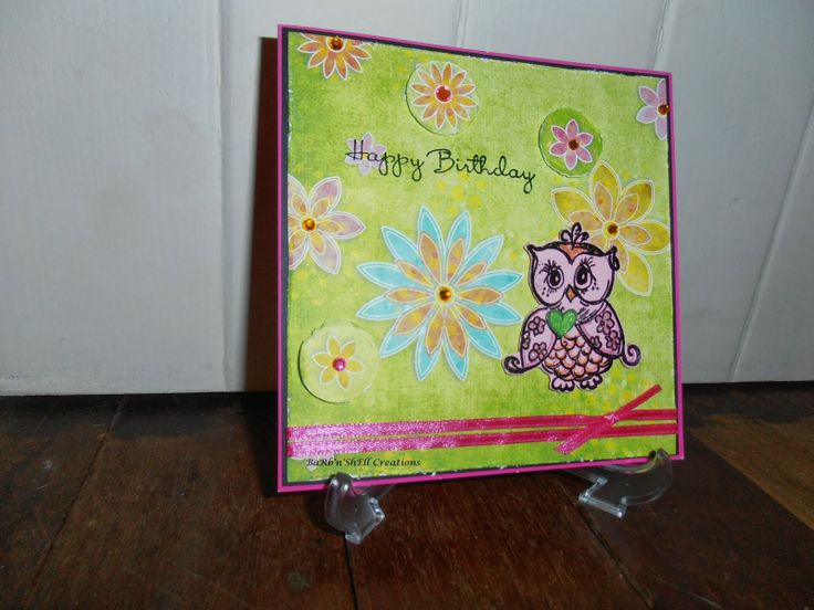 Kaisercraft Owl - Birthday Card - made by Shell