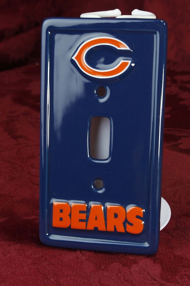 Chicago Bears Ceramic Wall Switch Plate Football NFL Man Cave Sports Decor