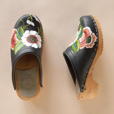 swedish clogs with gorgeous floral embroidery