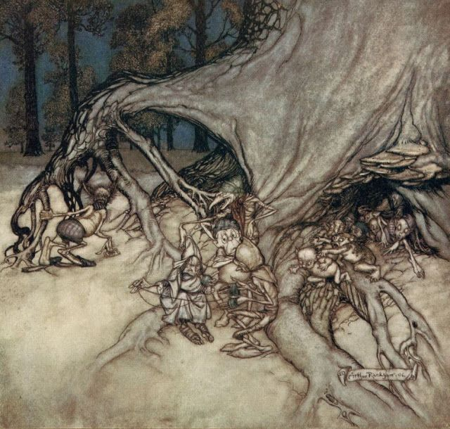 "Arthur Rackham's illustrations for Peter Pan in Kensington Gardens by J. M. Barrie, 1906 ""If the bad ones among the fairies happen to be out...""Peter Pan 3 of 58"
