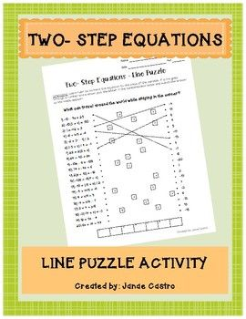This worksheet is a fun way for your students to practice two-step equations! Students solve equations and match the answers to reveal the answer to a riddle, so students will know right away if they solved the problems correctly! The file contains the student worksheet and teacher answer key.You might also like:One-Step Equations Line Puzzle