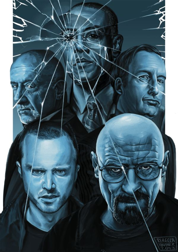 Sky Blue - Breaking Bad Art by Rebecca Hahner - Walter White, Jesse Pinkman, Saul Goodman, Gustavo Fring, Mike Ehrmantraut