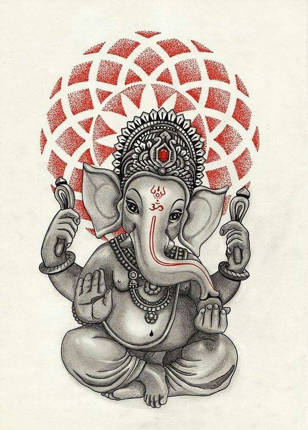 This is a famous painting of Ganesh. He is holding up the world. …