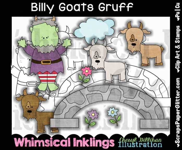 Billy Goats Gruff Clip Art, BONUS Lineart, Commercial Use, Digital Stamps, Clipart, Black & White, Storybook, Nursery Rhyme, Poem, Monster by ResellerClipArt on Etsy