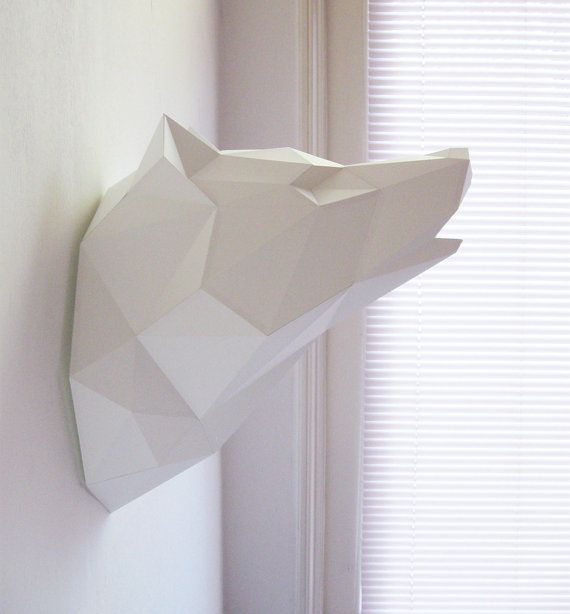*** DIY Kit for Paper Ninjas and Expert Crafters! *** An animal friendly wolf folding kit to create a big paper wall trophy. The assembled size of