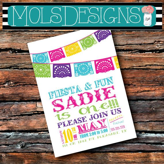 FIESTA FIRST BIRTHDAY Fiesta Flag Pink Yellow Turquoise Mexican Party Graduation Party Garden party Invitation
