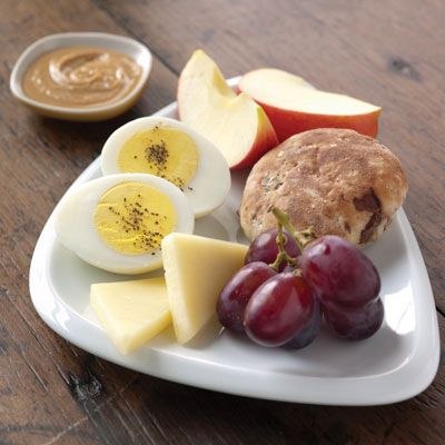 health.com has a list of healthy fast-food breakfasts. starbucks-protein artisan snack plate comes in at #2. mcdonalds oatmeal makes a good showing at #6. check out the entire list by following the link...