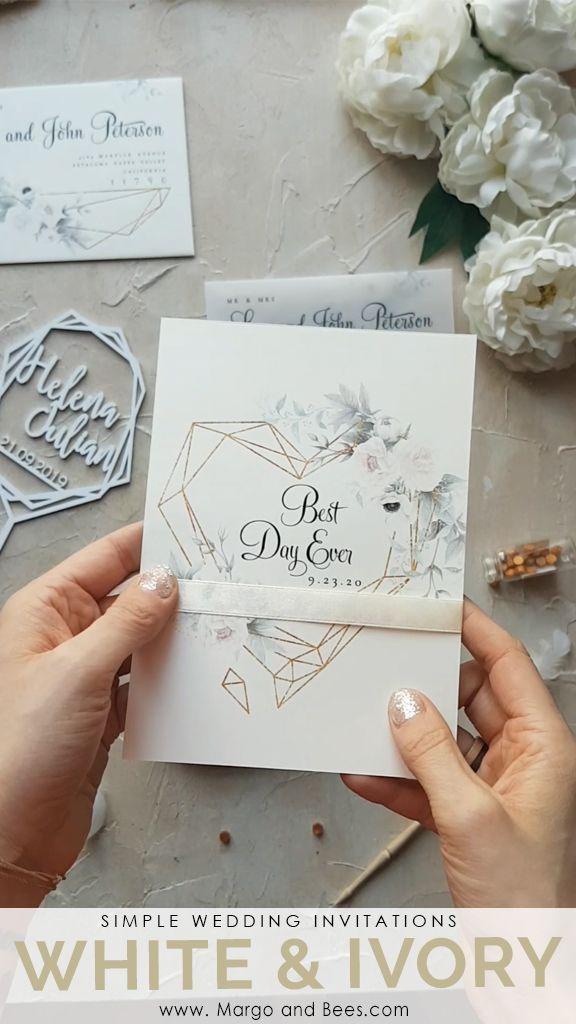 White flowers and geometric heart   #whitewedding #simpleweddinginvitations #pastelwedding #ivorywedding #springweddingideas