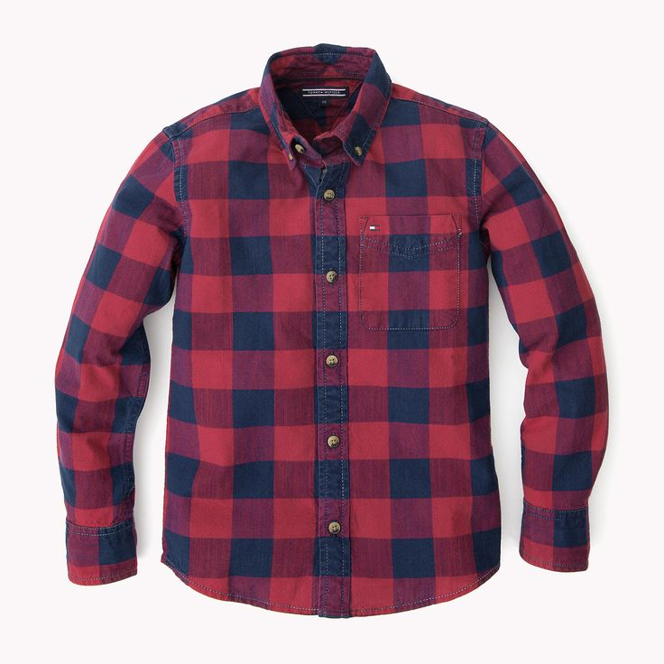 For Children: @tommyhilfiger Indigo Checked Shirt £52.00