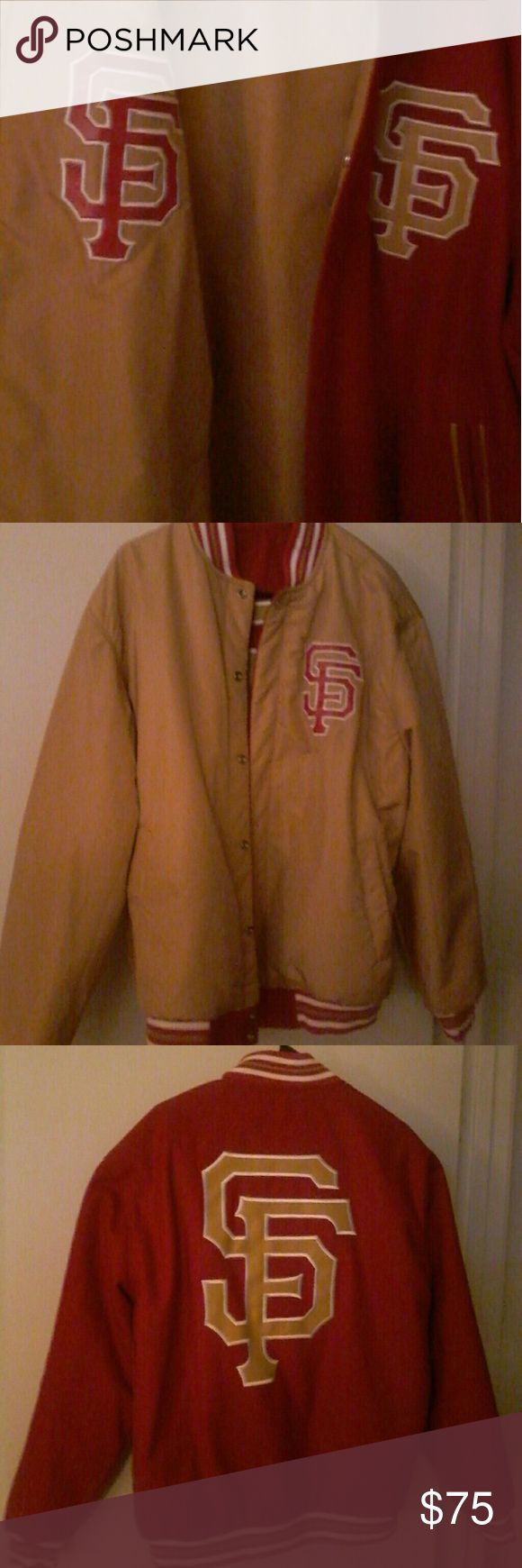 SF Giants jacket in 49ers Red & Gold Perfect for San Francisco fans! This is a unique colored snap jacket which is also reversible! Gorgeous. No tears & all buttons work properly.   I did notice a tiny line mark above the logo. See picture. This jacket is to be cleaned by leather experts or dry cleaned without fabric methods.  It was worn once then stored. So I will leave that up to the new owner. It looks like it will come right out. Very light.  Size XL  Wool & Polyester   SMOKE FREE HOME…