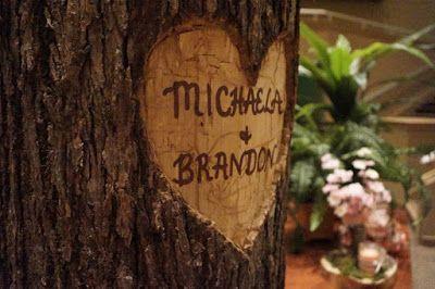 Tree stump for escort card table..Brandon Keilen and Michael Bates wedding