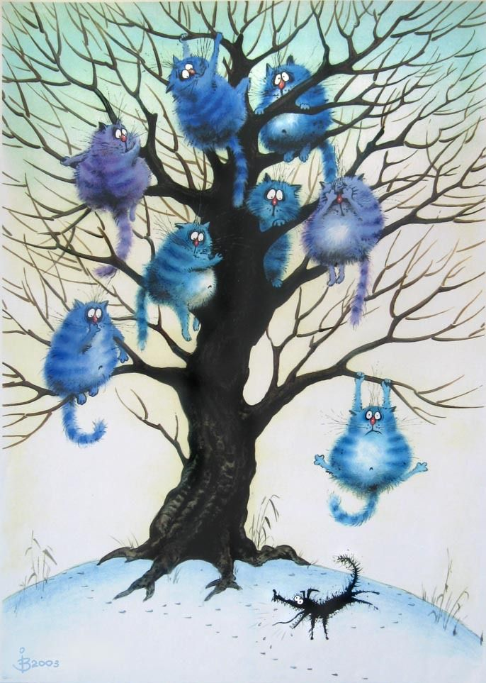 blue cats in a tree