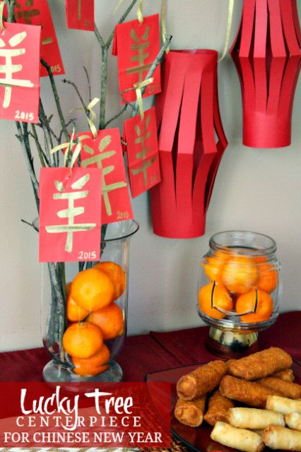 Easy Lucky Tree Centerpiece Idea for Chinese New Year Celebration #NewYearFortune #ad #CollectiveBias
