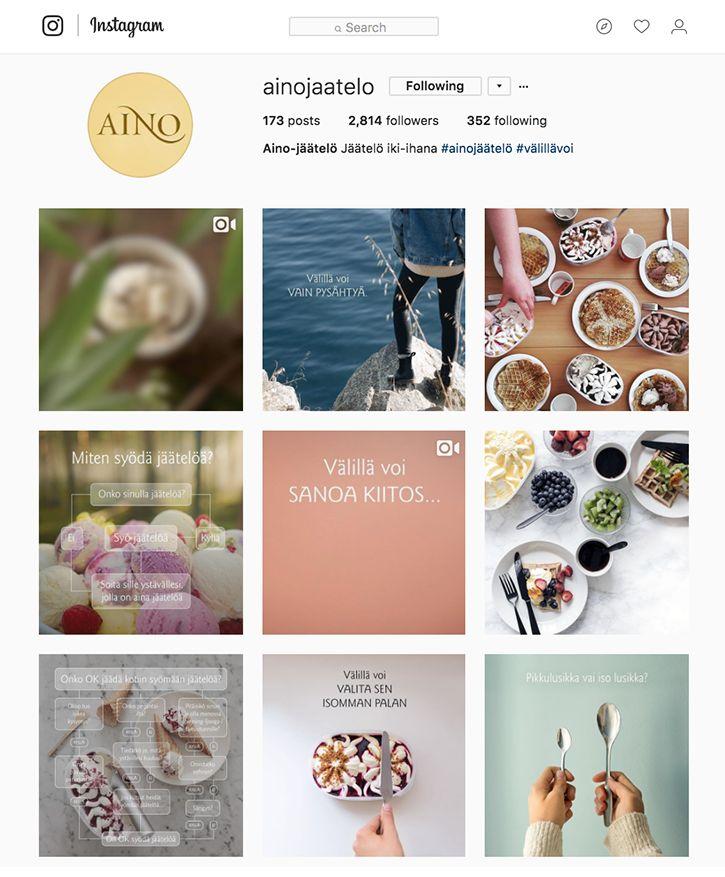 Aino-jäätelön sosiaalisen median strategia ja kattokonseptit (FB&Instagram).