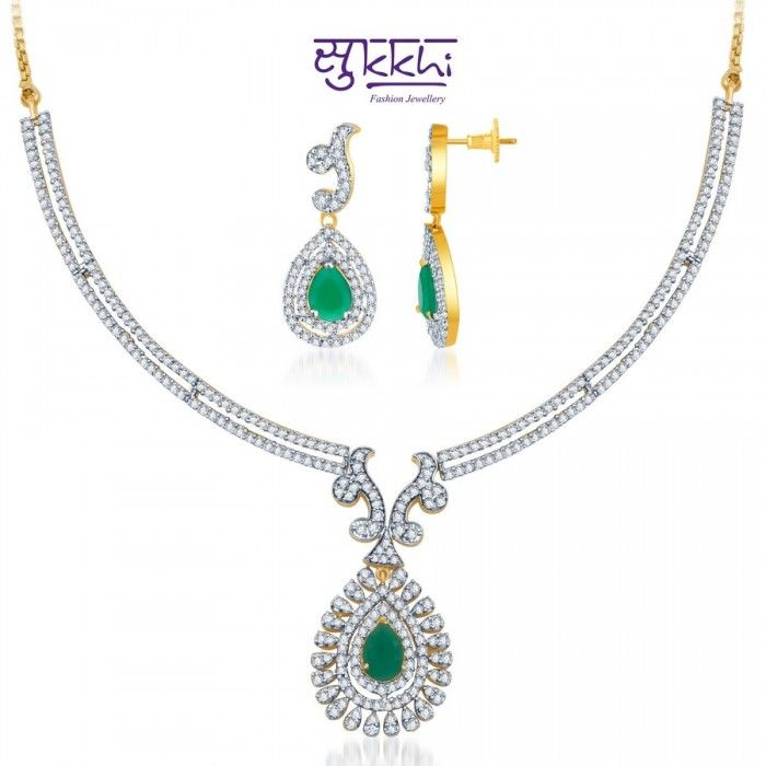 Beautiful Green and Rodium plated CZ Necklace Set | High5Store.com