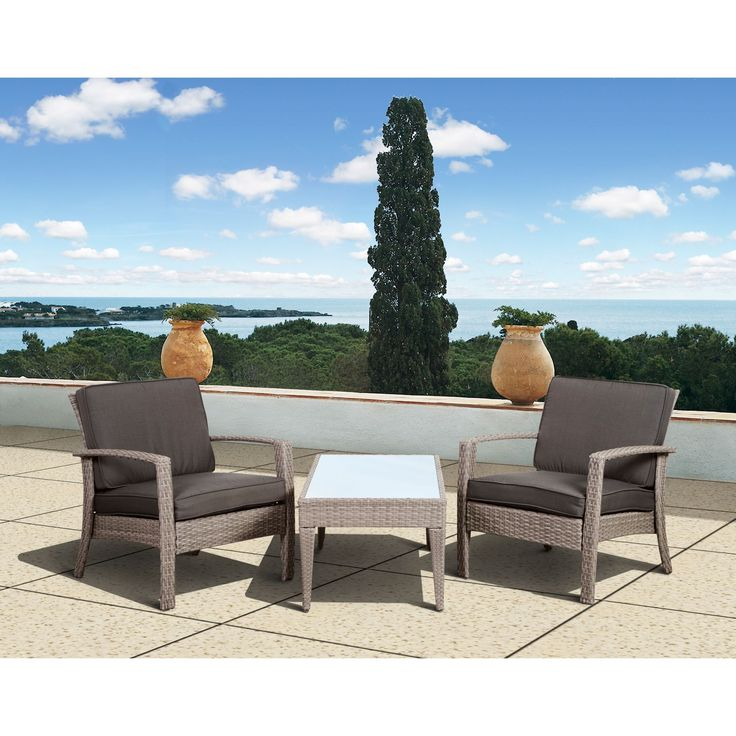 Enhance Your Outdoor Space With This Mykonos Three Piece Wicker Seating Set  From Atlantic Outdoor