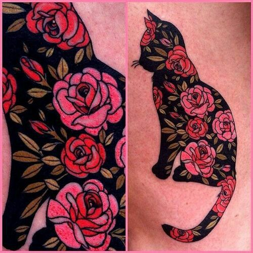 Cat and roses tatto