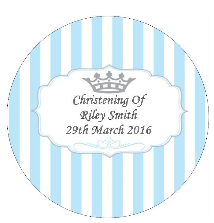 Christening Blue Stripes Personalised Cake Topper Edible Wafer Paper 7.5