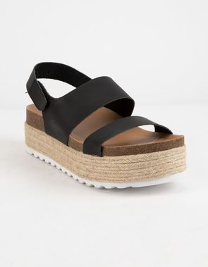 2d20c21cb45 DIRTY LAUNDRY Peyton Black Womens Espadrille Flatform Sandals ...