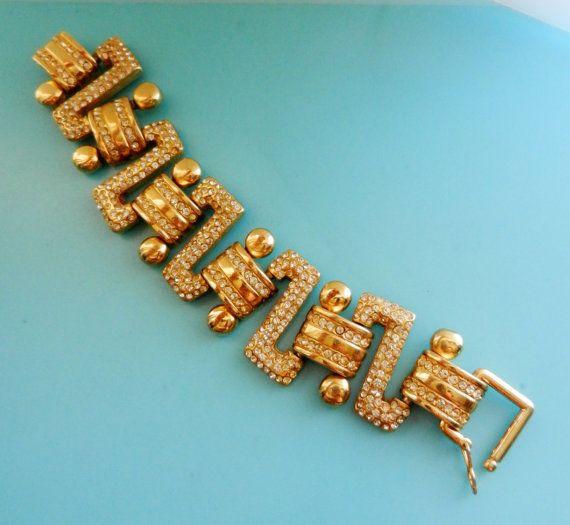Pave Link Bracelet  gold chunky chain bracelet by RAKcreations