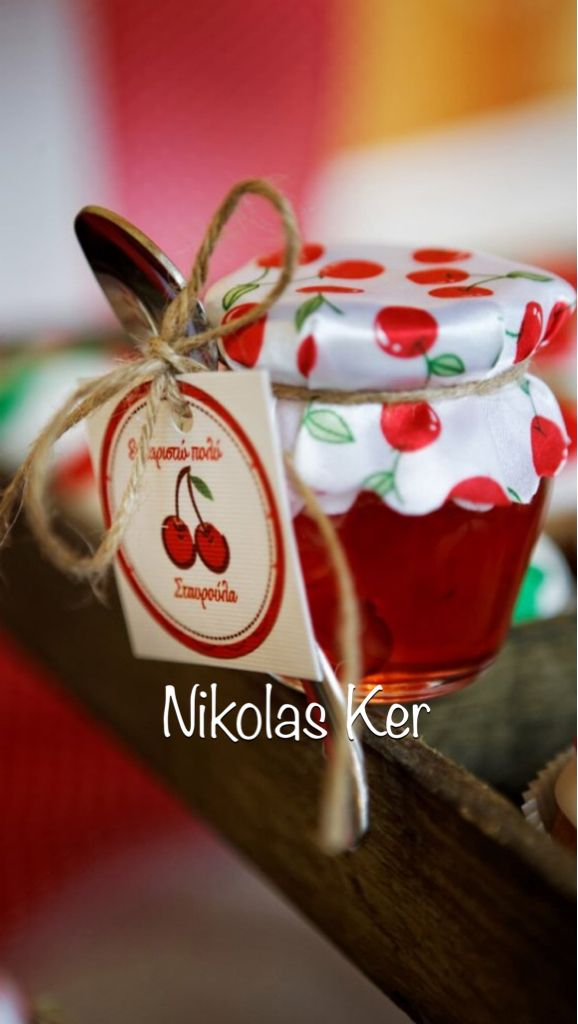 Βαζάκι με γλυκό κεράσι. Κεραστικό για τους καλεσμένους στη βάπτιση της Σταυρούλας! #cherries#baptism#baby#girl www.nikolas-ker.gr