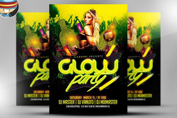 Glow / Neon Party Flyer Template by FlyerHeroes on @creativemarket