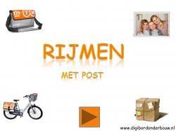 Digibordles rijmen met post http://digibordonderbouw.nl/index.php/themas/beroepen/postdigibordlessen