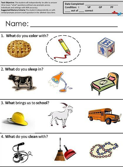 autism classroom worksheets what questions aba