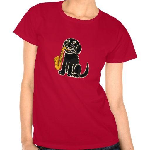 Puppy Dog Playing the Saxophone Shirt #labradoodle #black #dog #saxophone #shirt #music #funny And www.zazzle.com/inspirationrocks*