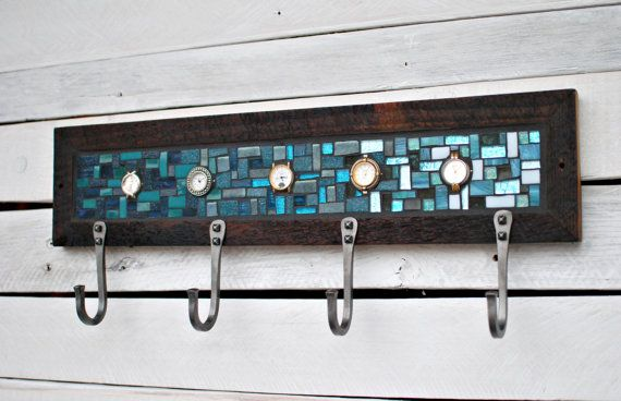 Wall Coat Rack Entryway Coat Hooks Mosaic Coat by PhoenixHandcraft