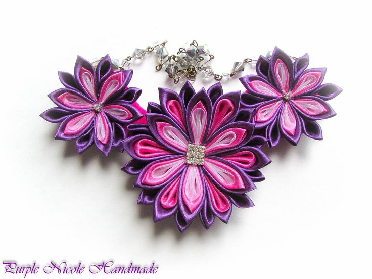 Metaria - Handmade Statement Necklace made by Purple Nicole (Nicole Cea Mov). Materials: kanzashi flowers made of satin (purple, pink) and organza (light pink), rhinestones, glass crystals.