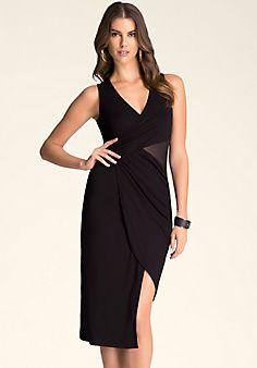 Mesh Inset Midi Dress
