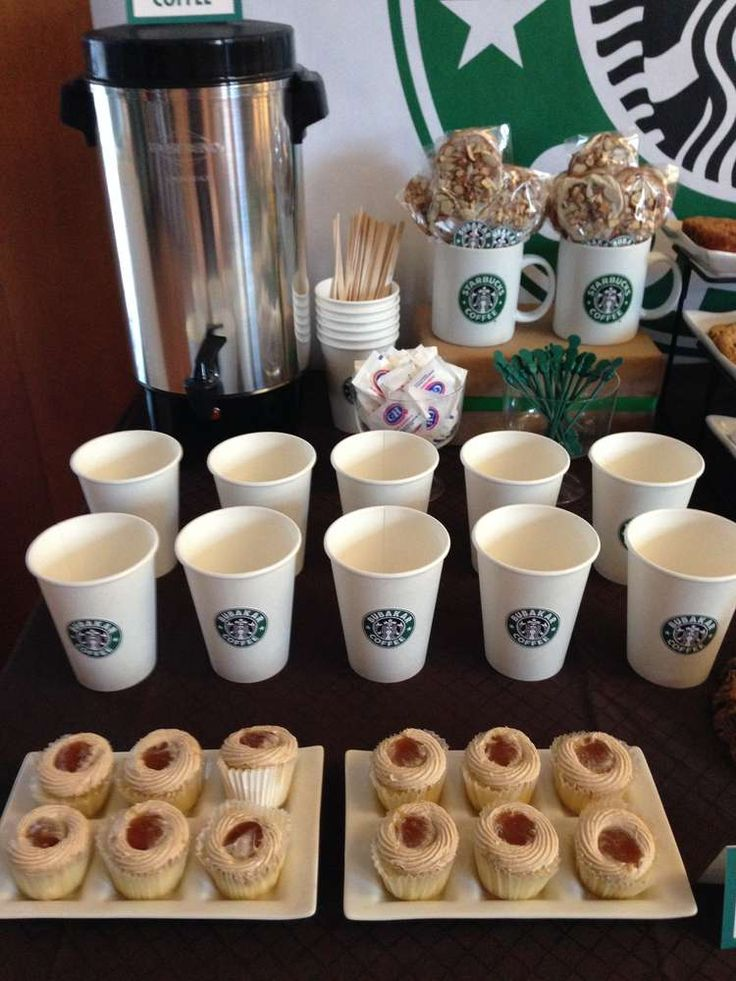 Cupcakes and coffee at a Starbucks Cafe dessert bar party! See more party planning ideas at CatchMyParty.com!