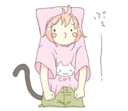 Light blue one-piece of cat ears girl. Rabbit stuffed and chick her friend. Love and positive of cute messenger sticker.