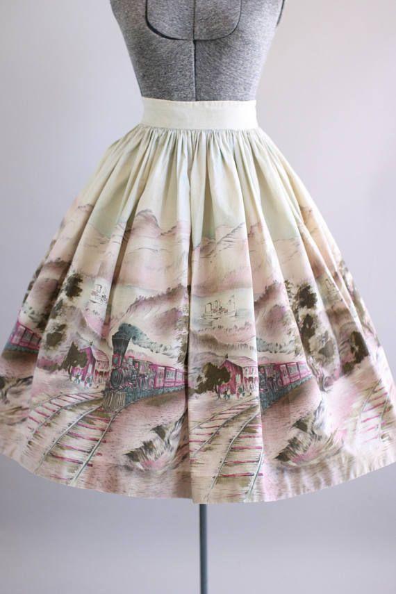 Vintage 1950s Skirt / 50s Cotton Skirt / Pink Scenic Train Novelty Border Print Skirt S